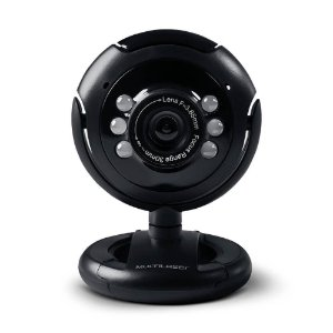Webcam Multilaser 16mb Nightvision Microfone USB preto wc045