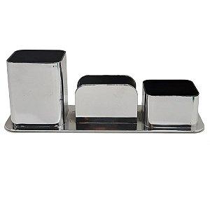 Porta Canetas / Clips / Lembretes  Dellocolor triplo Prata 3031.O