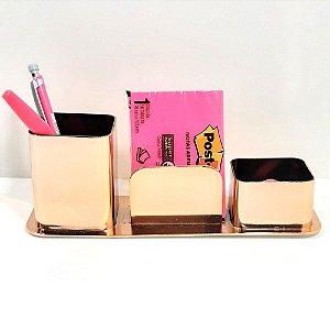 Porta Canetas / Clips / Lembretes  Dellocolor triplo Rosa Ouro 3031.RG