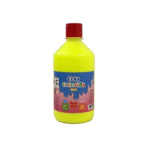 Cola Colorida Amarelo Make+ 500g Uso escolar e Slime