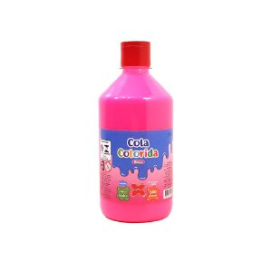 Cola Colorida Rosa Make+ 500g Uso escolar e Slime