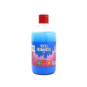 Cola Colorida Azul  Make+ 500g Uso escolar e Slime