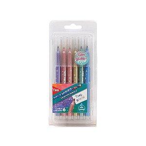 Canetinha Hidrocor Com Glitter Tons Pastel 6 cores Tris