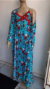 Conjunto camisola longa e robe de crepe