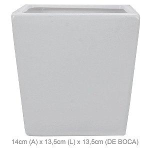 Vaso Cerâmica Quadrado 14cm - Branco