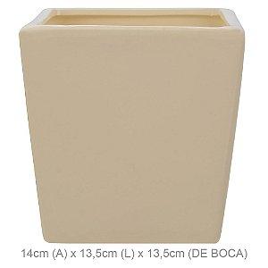 Vaso Cerâmica Quadrado 14cm - Areia
