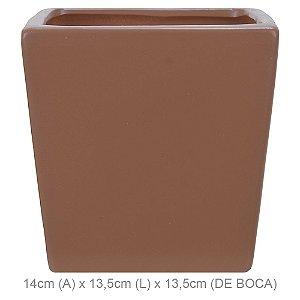 Vaso Cerâmica Quadrado 14cm - Ocre