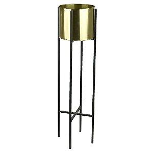 Vaso Metal com Suporte 91cm - Dourado Preto