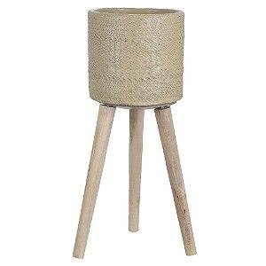 Vaso Cimento com Suporte 40cm - Bege