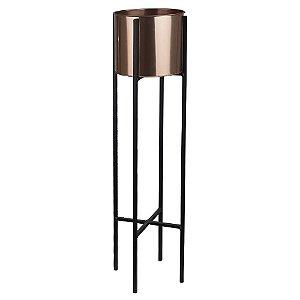 Vaso Metal com Suporte 91cm - Rosê Preto