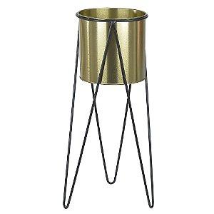 Vaso Metal com Suporte 45cm - Dourado Preto