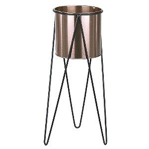 Vaso Metal com Suporte 45cm - Rosê Preto
