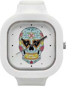 Relógio Caveira Mexicana - Branco