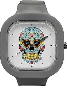 Relógio Caveira Mexicana - Cinza