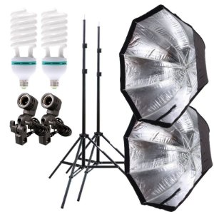 Kit de Iluminação V230 - 2 Tripés 2 m + 2 Suportes de Sombrinha E-27 + 2 Octobox 80cm + 2 Lâmpadas 150W