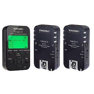 Kit com 1 Transmissor Rádio Flash Yongnuo YN-622C TX + 2 Receptores YN-622C II E-TTL (para Canon)