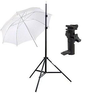 Kit de Iluminação F100 - 1 Tripé 2 m + 1 Suporte de Sombrinha YA-421 + 1 Sombrinha Difusora 101 cm