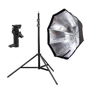 Kit de Iluminação F240 - 1 Tripé 2,5 m + 1 Suporte de Sombrinha YA-421 + 1 Octobox 80cm