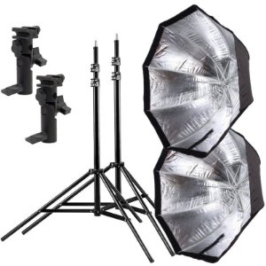 Kit de Iluminação F260 - 2 Tripés 2,5 m + 2 Suportes de Sombrinha YA-421 + 2 Octobox 80cm