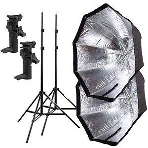 Kit de Iluminação F320 - 2 Tripés 2 m + 2 Suportes de Sombrinha YA-421 + 2 Octobox 120cm