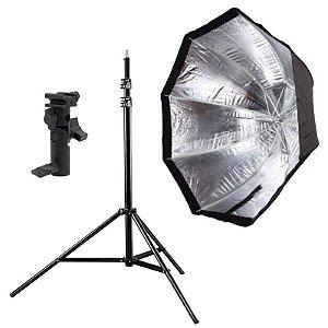Kit de Iluminação F340 - 1 Tripé 2,5 m + 1 Suporte de Sombrinha YA-421 + 1 Octobox 120cm
