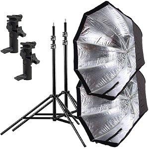 Kit de Iluminação F360 - 2 Tripés 2,5 m + 2 Suportes de Sombrinha YA-421 + 2 Octobox 120cm