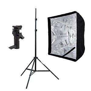 Kit de Iluminação F400 - 1 Tripé 2 m + 1 Suporte de Sombrinha YA-421 + 1 Softbox 60x60cm