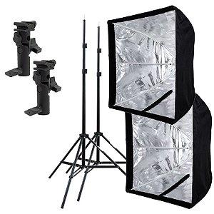 Kit de Iluminação F420 - 2 Tripés 2 m + 2 Suportes de Sombrinha YA-421 + 2 Softbox 60x60cm
