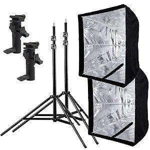 Kit de Iluminação F460 - 2 Tripés 2,5 m + 2 Suportes de Sombrinha YA-421 + 2 Softbox 60x60cm