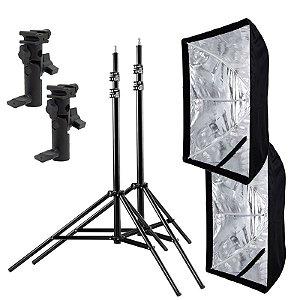 Kit de Iluminação F560 - 2 Tripés 2,5 m + 2 Suportes de Sombrinha YA-421 + 2 Softbox 60x90cm