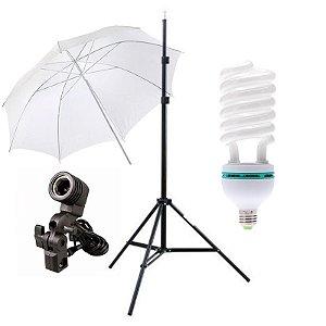Kit de Iluminação V100 - 1 Tripé 2 m + 1 Suporte de Sombrinha E-27 + 1 Sombrinha Difusora 101 cm + 1 Lâmpada 150W
