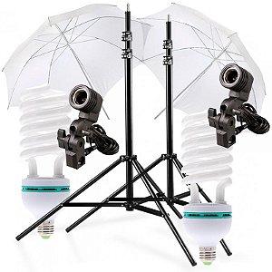 Kit de Iluminação V160 - 2 Tripés 2,5 m + 2 Suportes de Sombrinha E-27 + 2 Sombrinhas Difusoras 101 cm + 2 Lâmpadas 150W
