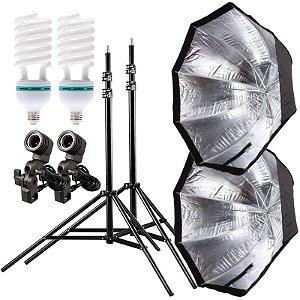 Kit de Iluminação V260 - 2 Tripés 2,5 m + 2 Suportes de Sombrinha E-27 + 2 Octobox 80cm + 2 Lâmpadas 150W