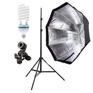 Kit de Iluminação V300 - 1 Tripé 2 m + 1 Suporte de Sombrinha E-27 + 1 Octobox 120cm + 1 Lâmpada 150W