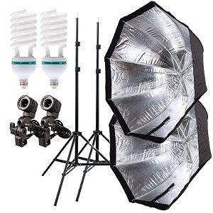 Kit de Iluminação V320 - 2 Tripés 2 m + 2 Suportes de Sombrinha E-27 + 2 Octobox 120cm + 2 Lâmpadas 150W