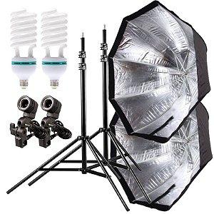Kit de Iluminação V360 - 2 Tripés 2,5 m + 2 Suportes de Sombrinha E-27 + 2 Octobox 120cm + 2 Lâmpadas 150W