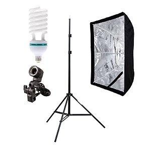 Kit de Iluminação V500 - 1 Tripé 2 m + 1 Suporte de Sombrinha E-27 + 1 Softbox 60x90cm + 1 Lâmpada 150W