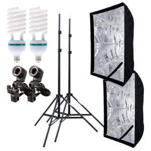 Kit de Iluminação V520 - 2 Tripés 2 m + 2 Suportes de Sombrinha E-27 + 2 Softbox 60x90cm + 2 Lâmpadas 150W