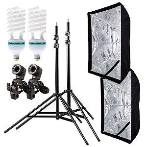 Kit de Iluminação V560 - 2 Tripés 2,5 m + 2 Suportes de Sombrinha E-27 + 2 Softbox 60x90cm + 2 Lâmpadas 150W