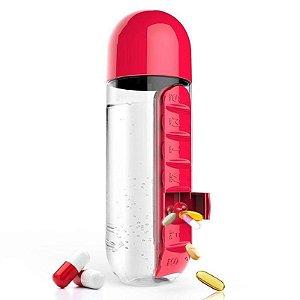 Garrafa de água com porta comprimidos - 3 EM 1 EXCLUSIVA