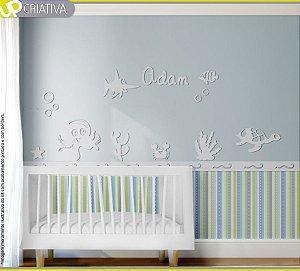 Painel decorativo para quarto de bebê - Fundo do mar MDF