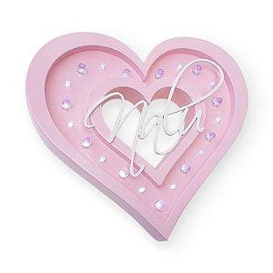 Luminoso Porta de Maternidade Coração MDF/Led Frontal para Quarto de Bebê