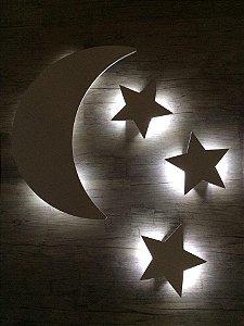 Luminária Lua e Estrelas MDF/LED Luz Indireta
