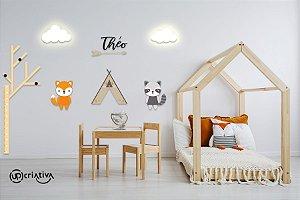 Painel decorativo para quarto de bebê - Tema Raposa Guaxinin