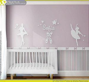 Painel decorativo para quarto de bebê - Tema Bailarinas MDF