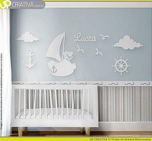 Painel decorativo para quarto de bebê - Tema Urso Marinheiro MDF