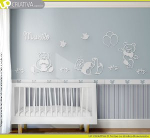 Painel decorativo para quarto de bebê - Tema Ursos Brincalhões MDF