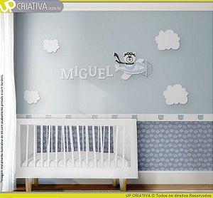 Painel decorativo para quarto de bebê - Urso Aviador MDF