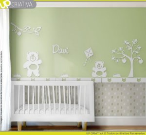 Painel decorativo para quarto de bebê - Tema Ursos Jardim