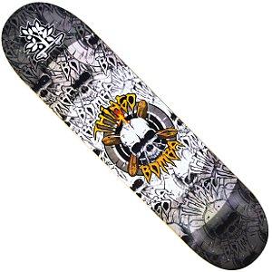 Shape Long Board Pro Model Thiago Bomba Caveira Cinza